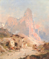 Figures in a Village in the Dolomites - Franz Richard Unterberger