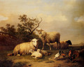 Sheep With Resting Lambs And Poultry In A Landscape - Eugène Verboeckhoven