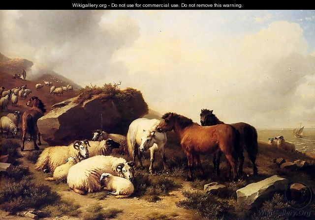 Horses And Sheep By The Coast - Eugène Verboeckhoven