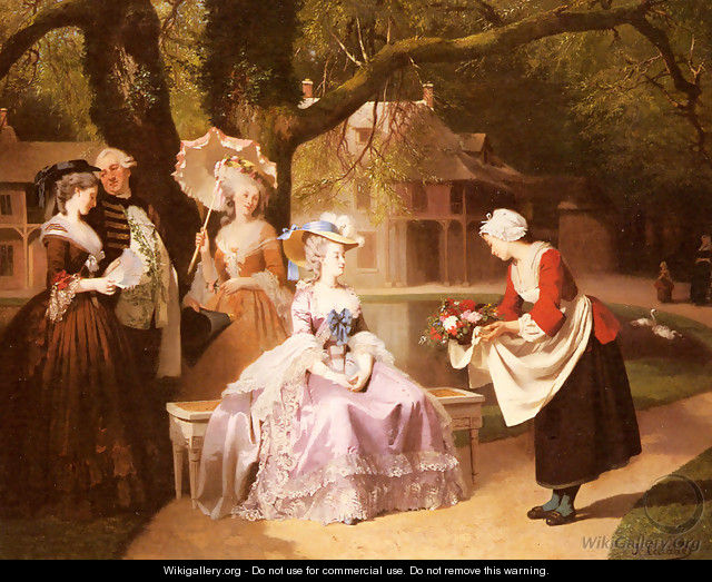 Marie Antoinette and Louis XVI in the Garden of the Tuileries with Madame Lambale - Joseph Caraud