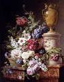 Still Life Of Flowers In A Basket With Two Butterflies, A Drgonfly, A Fly And A Beetle By An Alabaster Urn On A Marble Pedestal - Gerard Van Spaendonck