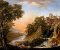 Figures Resting On The Banks Of A River, A Waterfall In The Foreground - Nicolas-Jacques Juliard