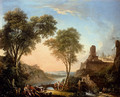 Figures Resting On The Banks Of A River, A Bridge In The Distance - Nicolas-Jacques Juliard
