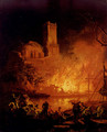 A River Landscape With Figures Fleeing A Burning City - Pierre-Jacques Volaire