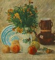 Vase With Flowers Coffeepot And Fruit - Vincent Van Gogh
