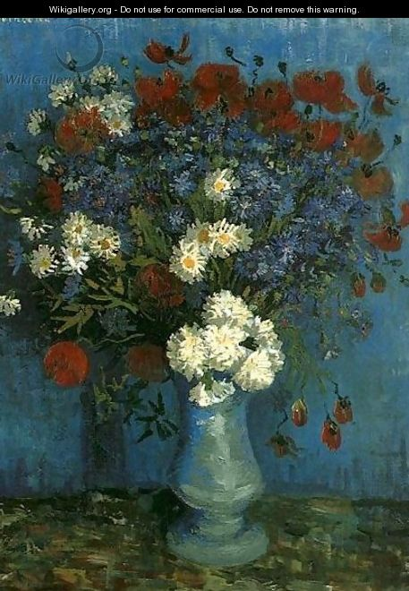 Vase With Cornflowers And Poppies - Vincent Van Gogh