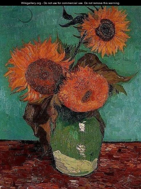 Three Sunflowers In A Vase - Vincent Van Gogh