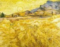 Wheat Field With Reaper And Sun - Vincent Van Gogh