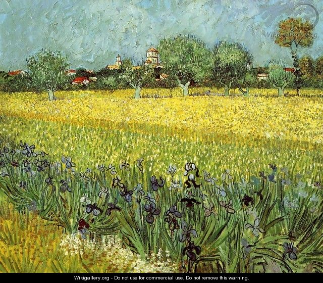 View Of Arles With Irises In The Foreground - Vincent Van Gogh