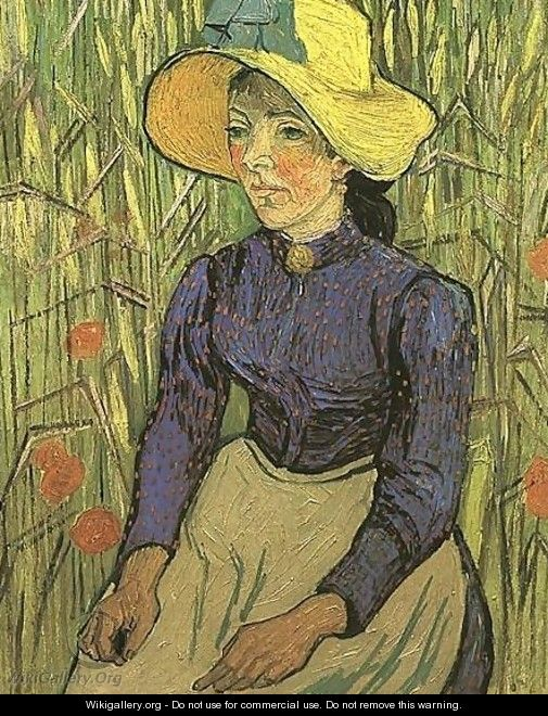 The Young Peasant Woman With Straw Hat Sitting In - Vincent Van Gogh