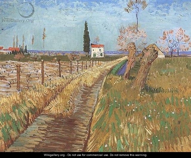 Path Through A Field With Willows - Vincent Van Gogh