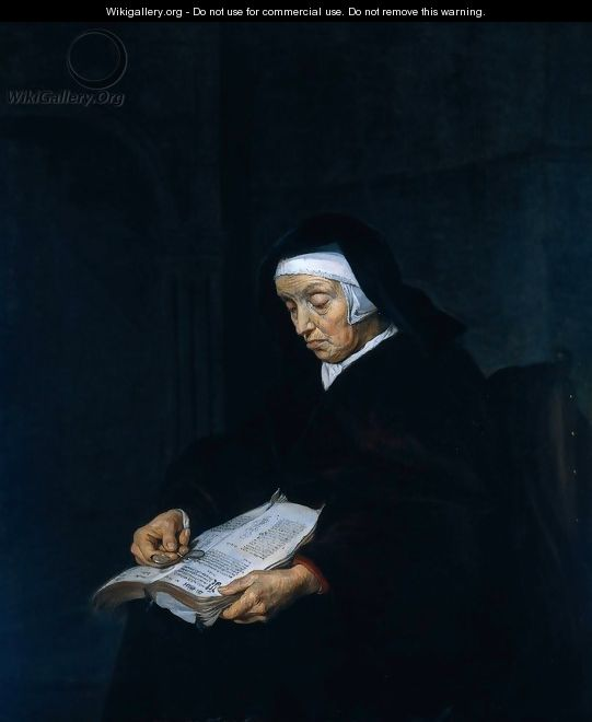 Old Woman Meditating - Gabriel Metsu