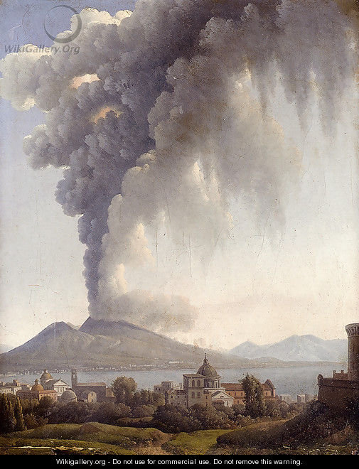 Bay Of Naples With Vesuvius Erupting Beyond - Alexandre-Hyacinthe Dunouy