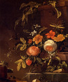 Flowers In A Landscape With A Lizard - Elias van den Broeck