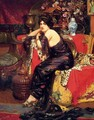 A Harem Beauty Seated On A Leopard Skin - Frederic Louis Leve
