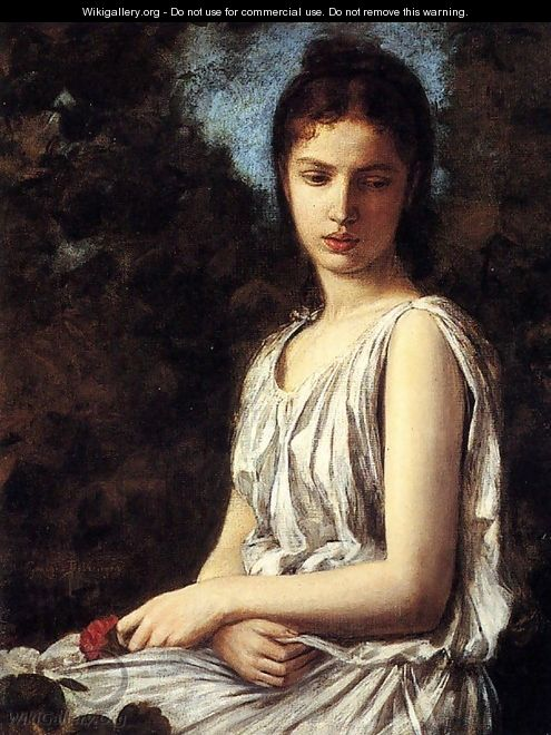 A Young Woman In Classical Dress Holding A Red Rose - Georges Bellanger