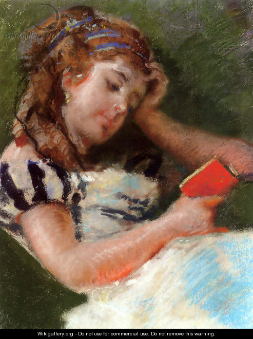 A Young Girl Reading - Mose Bianchi