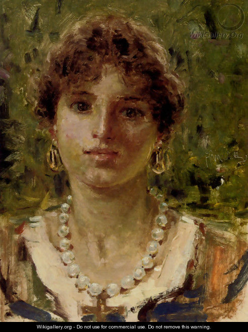 Portrait Of A Girl Wearing A Pearl Necklace - Francesco Paolo Michetti