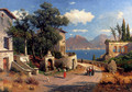 An Italian Village By A Lake - Carl Gustav Rodde