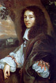 Portrait of Christaen Huygens in a landscape, a country house beyond - Jan Mytens