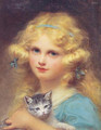Portrait of a young girl holding a kitten - Edouard Cabane