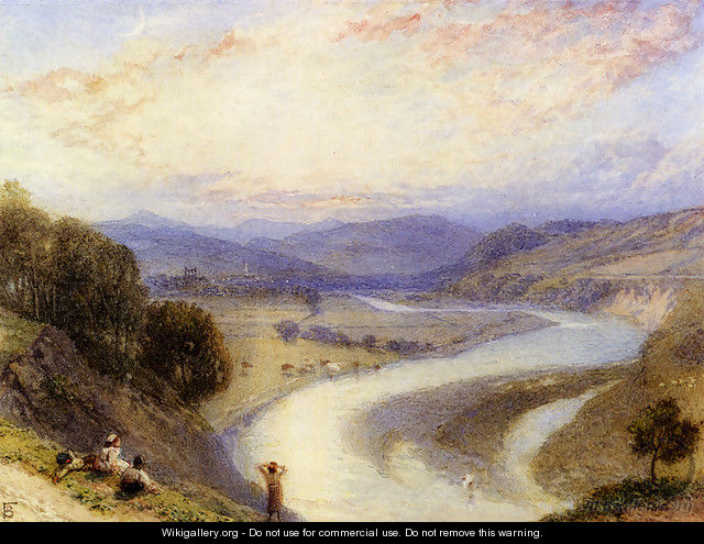 Melrose Abbey From The Banks Of The Tweed - Myles Birket Foster