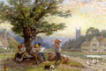 Figures And Children Beneath A Tree In A Village - Myles Birket Foster