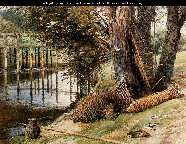 Eel Pots, On The Banks Of A River - Myles Birket Foster