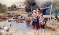 Children Paddling In A Stream - Myles Birket Foster
