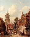 A Busy Street In A Town - Willem De Haas Hemken