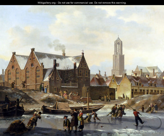 Skaters On A Frozen Canal - Jan Hendrik Verheijen