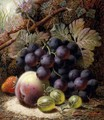 Still Life with Black Grapes, a Strawberry, a Peach and Gooseberries on a Mossy Bank - Oliver Clare