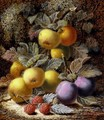 Still Life with Apples, Plums and Raspberries on a Mossy Bank - Oliver Clare