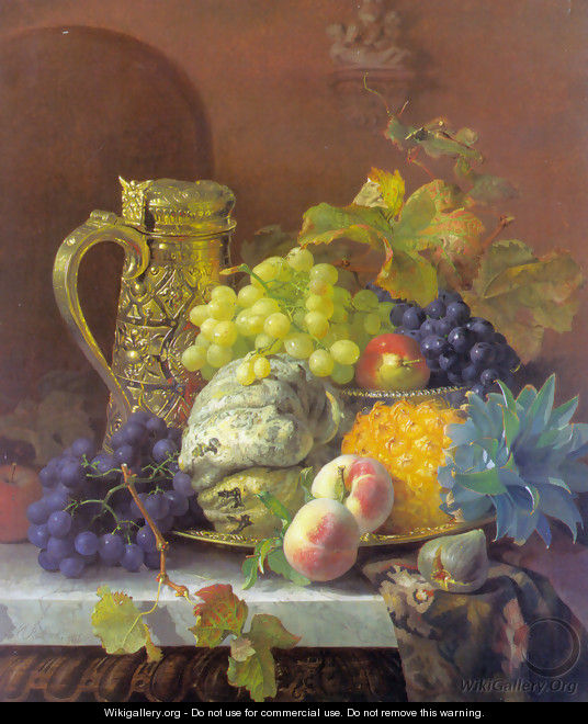 Fruits on a tray with a silver flagon on a marble ledge - Eloise Harriet Stannard