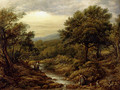 A River Landscape, With Two Boys Fishing And A Girl Fetching Water - John Linnell