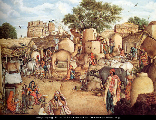 A Village Scene In The Punjab - Gulam Ali Khan