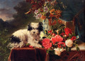 Camellias And A Terrier On A Console - Adriana-Johanna Haanen