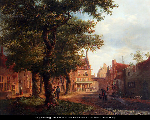 A Village Square With Villagers Conversing Under Trees - Bartholomeus Johannes Van Hove