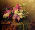 A Still Life With Lilacs And Violets On A Draped Guilt Rococo Table - Clara Von Sivers