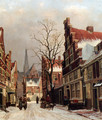 Townsfolk In A Snow-covered Street In Haarlem - Franciscus Lodewijk Van Gulik