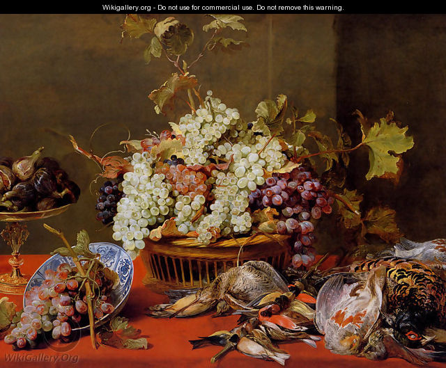 A Still Life Of Grapes In A Basket And A Bunch In A Wan-li