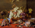 A Still Life Of Grapes In A Basket And A Bunch In A Wan-li 'Kraak' Porcelain Bowl With Figs In A Tazza On A Red Draped Ledge With A Woodstock, Pheasants, A Partridge And Other Birds - Frans Snyders