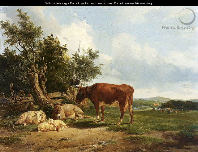 An Extensive Landscape With Cattle Resting - Simon Van Den Berg