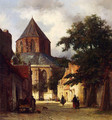 Figures In The Streets Of A Dutch Town, A Church In The Background - Johannes Bosboom