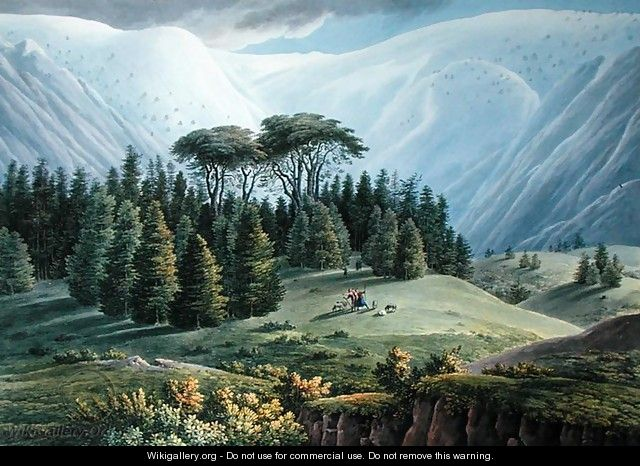 View of the Cedar Forests of Lebanon seen from the Tripoli Road, c.1800 - Louis Francois Cassas