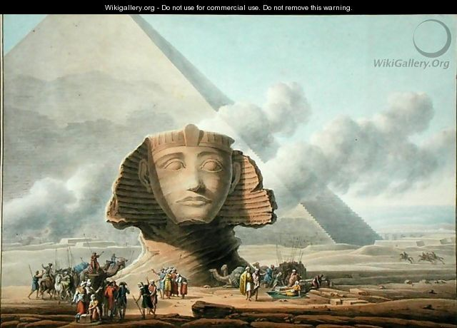 View of the Head of the Sphinx and the Pyramid of Khafre, c.1790 - Louis Francois Cassas