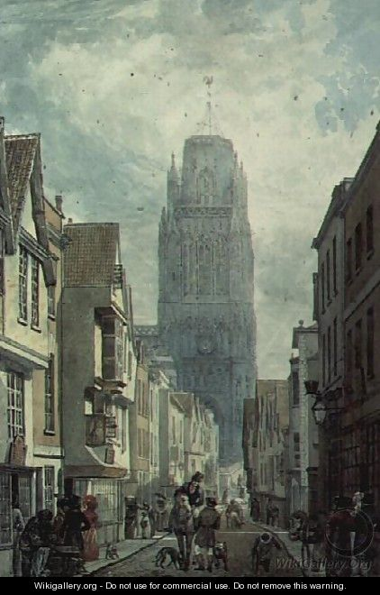 Redcliffe Street, Bristol, showing the Tower of the Church of St.Mary Redcliffe - Edward Cashin