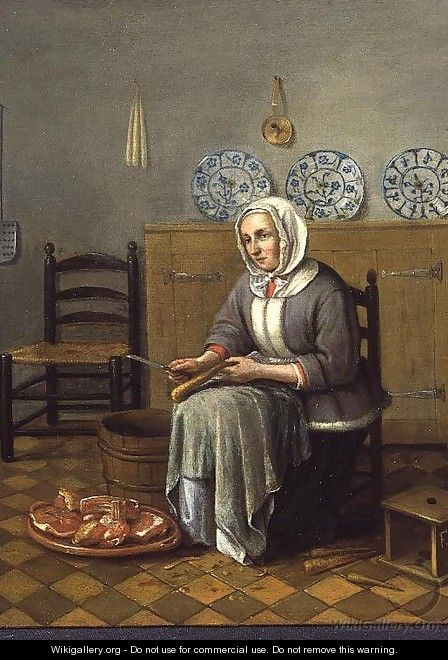 A Seated Woman preparing Food in a Kitchen - Franciscus Carree