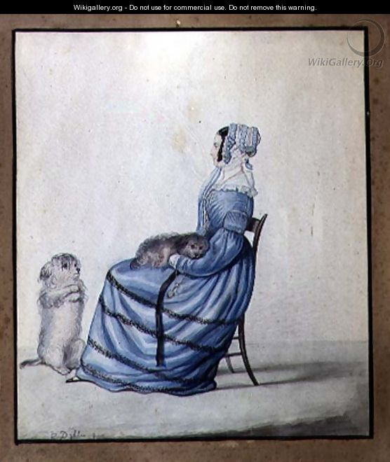 Portrait of Marianne Cartwright with her Pet Dogs - Lili Cartwright