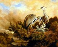 Heron Feeding Their Young In A Pine Tree, 1889 - Samuel John Carter
